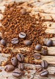 Coffee beans and coffee grind beans on wood Stock Images