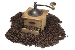 Coffee beans and coffee grinder Stock Photography