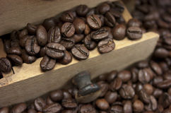 Coffee beans and coffee grinder Stock Image