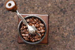 Coffee beans in coffee grinder Stock Photo