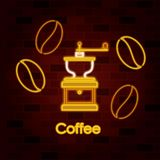 Coffee beans and coffee grinder on neon sign on brick wall. Vector illustration Royalty Free Stock Photography