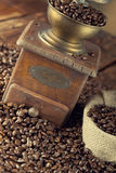 Coffee beans and coffee grinder Royalty Free Stock Image