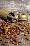 Coffee beans with coffee grinder Royalty Free Stock Photos