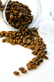 Coffee beans and coffee jar Stock Photography