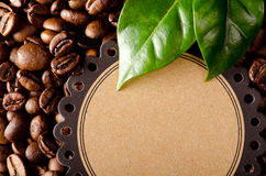 Coffee beans and coffee leaves Stock Photo