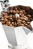 Coffee beans in coffee maker Royalty Free Stock Image