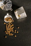 Coffee beans on a coffee maker Stock Photo