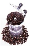 Coffee beans coffee pot Royalty Free Stock Image