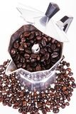 Coffee beans coffee pot Royalty Free Stock Photography