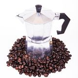 Coffee beans coffee pot Stock Image
