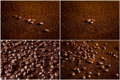 Coffee beans on coffee powder. Macro shot stock photo