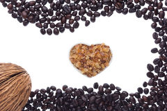 Coffee beans and coffee sugar Stock Photography