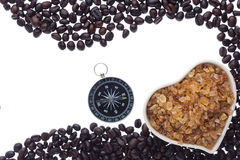 Coffee beans and coffee sugar Royalty Free Stock Photography