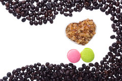 Coffee beans and coffee sugar Royalty Free Stock Photos