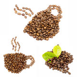 Coffee Beans collage isolated on white bacground Royalty Free Stock Photography