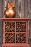 Coffee beans collage, top view Royalty Free Stock Photos