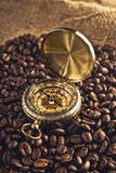 Coffee beans and compass Stock Image