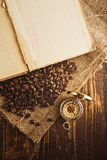 Coffee beans and compass Stock Images