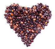 Coffee beans concept - heart health or love. Heart shape formed by bunch of coffee beans isolated on white Stock Photo
