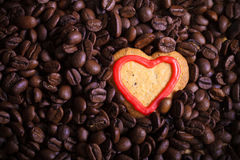 Coffee beans with cookie for background. Toned Stock Photos