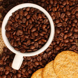 Coffee beans and cookies Royalty Free Stock Images