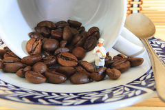 Coffee beans cooking Royalty Free Stock Images