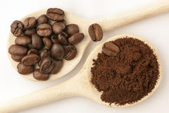 Coffee beans on cooking spoon Royalty Free Stock Images
