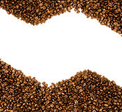 Coffee beans  with copy space. Coffee beans on the white background with copy space Royalty Free Stock Image