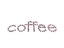 Coffee beans creating word coffee. Coffee beans in white background royalty free stock photography