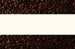 Coffee beans with creative rectangle element for graphical uses. Coffee beans with creative rectangle element for coffee shops Royalty Free Stock Photo