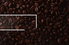 Coffee beans with creative rectangle element for graphical uses. Hot coffee Stock Photo
