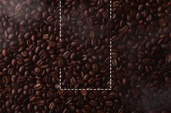 Coffee beans with creative rectangle element for graphical uses. Hot coffee Stock Image