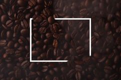 Coffee beans with creative rectangle element for graphical uses. Hot coffee Royalty Free Stock Images