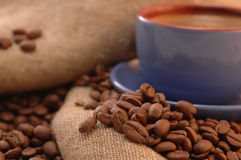 Coffee beans, and cup stock image