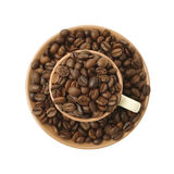 Coffee beans in the cup Royalty Free Stock Photo