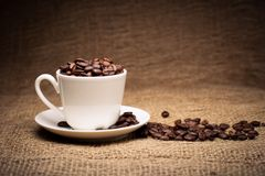 Coffee beans in cup. Photo of roasted coffee beans in a cup on sackcloth Royalty Free Stock Images