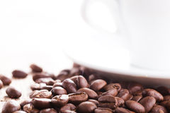 Coffee beans and cup Royalty Free Stock Photo