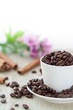 Coffee beans in cup. Photo of roasted coffee beans in a cup on white Royalty Free Stock Images