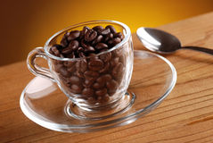 Coffee beans in the cup Stock Photos
