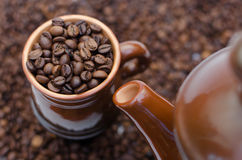 Cup of coffee. Coffee beans in a cup Stock Photo