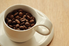 Coffee beans cup. A cup with coffee beans Royalty Free Stock Image