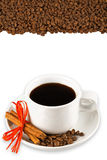 Coffee beans and cup background Royalty Free Stock Photography