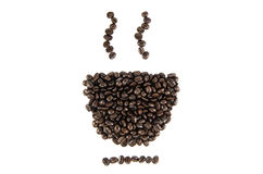 Coffee beans cup on background. Coffee beans cup on white background stock photos