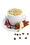 Coffee beans, cup and cinnamon Stock Photography