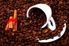 Coffee beans with cup and cinnamon Stock Photos
