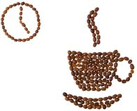 Coffee-beans cup and clock on white background Royalty Free Stock Photo