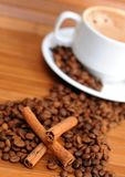 Coffee beans with cup of coffee. Coffee beans with cinnamon sticks and cup of coffee Stock Images