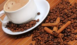 Coffee beans with cup of coffee. Coffee beans with cinnamon sticks and cup of coffee Stock Photography