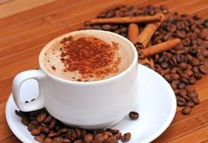 Coffee beans with cup of coffee. Coffee beans with cinnamon sticks and cup of coffee Royalty Free Stock Images