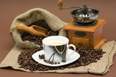 Coffee beans, cup of coffee and grinder Stock Photo